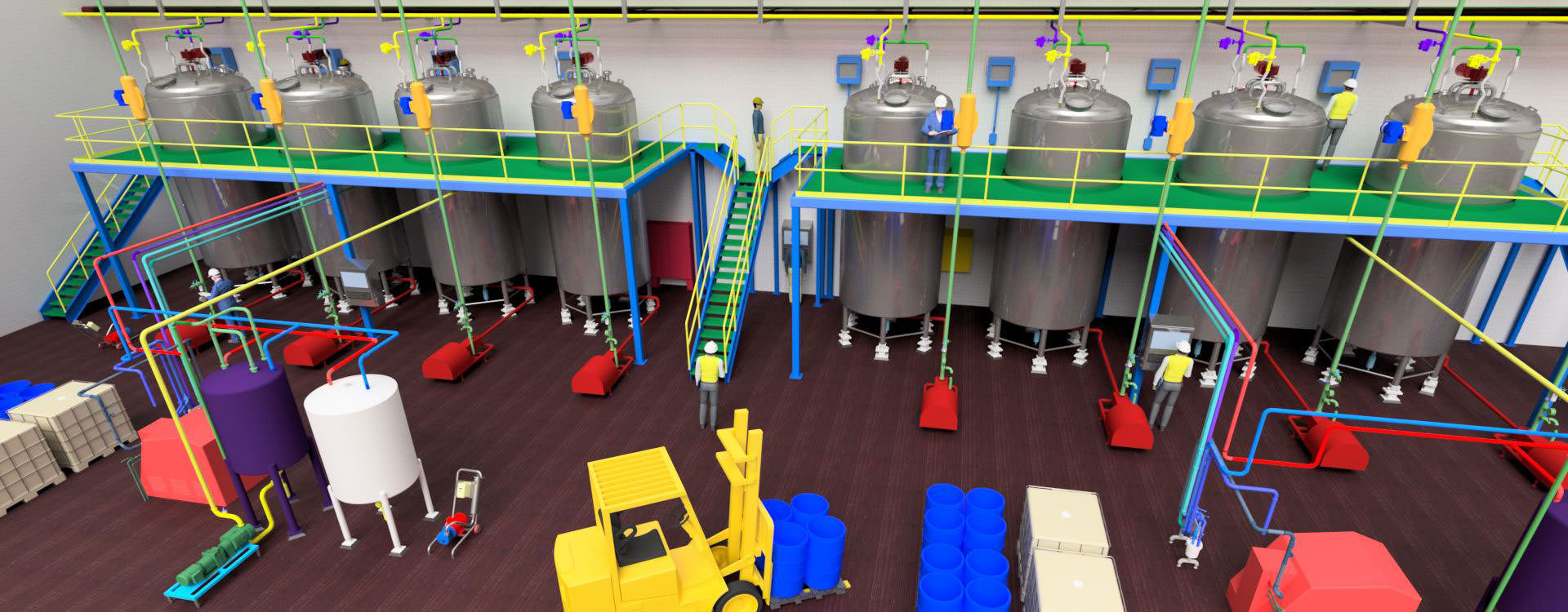Inside of a bottling facility