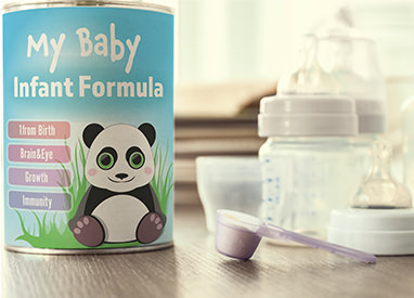 Canister of baby formula and bottles